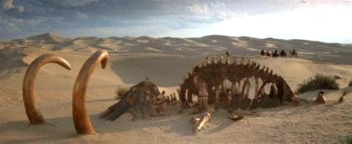 Después usarían estos esqueletos para los elefantes tochos de El Señor de los Anillos.